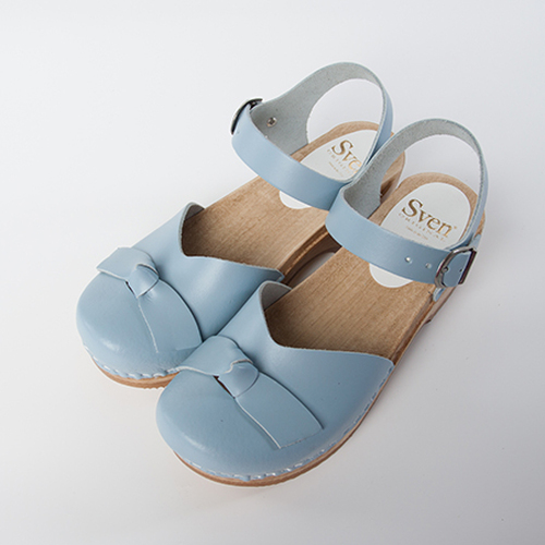 Light Blue Leather with Brown Base