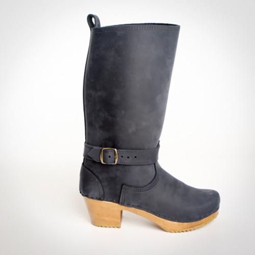 "11"" Leather Clog Boots - Swedish Mid Heels"