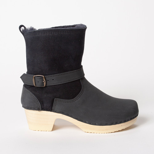 "Navy Shearling - 7"" Clog Booties - Mid Heels"