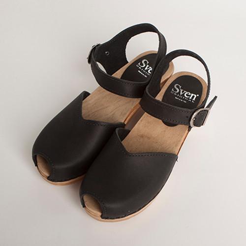 Mary Jane Clog - Peep Toes - Mid Heel