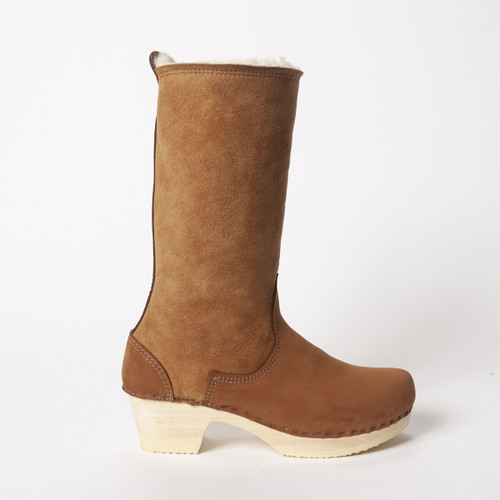 "11"" Shearling Clog Boots -Bendable Mid Heels"