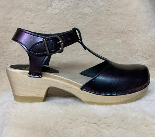 Eggplant Iridescent  T-Strap Mid Heel Clogs
