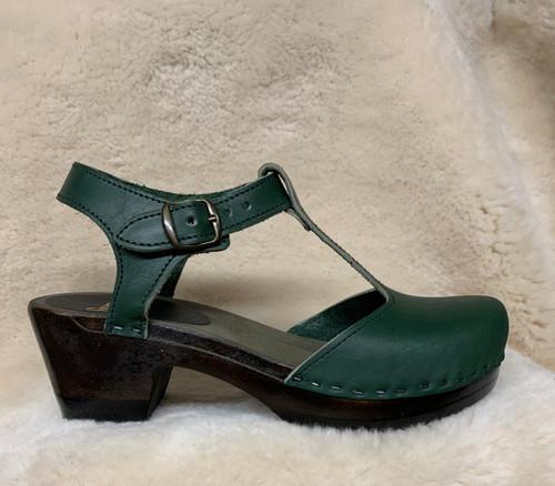 Hunter Green - T-Strap Clogs - Mid Heel
