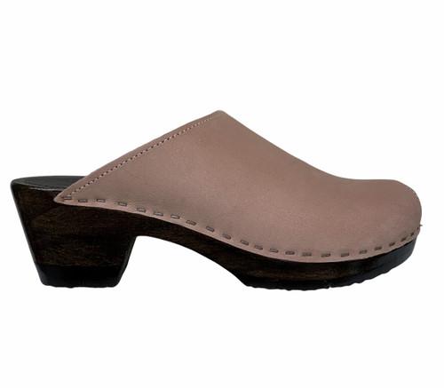 Plain Clogs - Mid Heel - Rose Nu Buc
