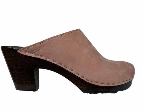 Peep Toe Clogs - High Heels - Rose Nu Buc