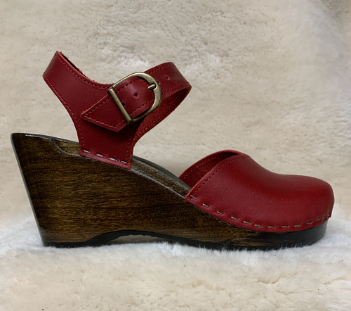 High Heel Wedge - Mary Jane Clogs - Cranberry