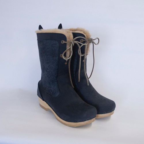 Denim Shearling - Lace Up Shearling Clog Boots