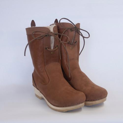 Caramel Nappa - Lace Up Shearling Clog Boots