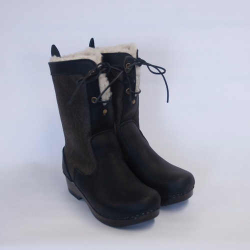 Distressed Aviator - Lace Up Shearling Clog Boots