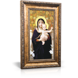 """Madonna of the Lilies - Framed Canvas 6"""" x 11"""" (Including gold frame: 9.5"""" x 14.5"""")"""