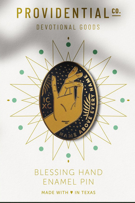 Blessing Hand of Christ – Black + Gold Pin