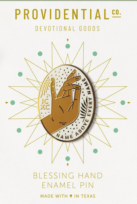 Blessing Hand of Christ – White + Gold Pin