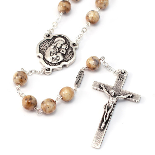 St. Joseph in Antique Silver finish and Bohemian Glass beads by Ghirelli
