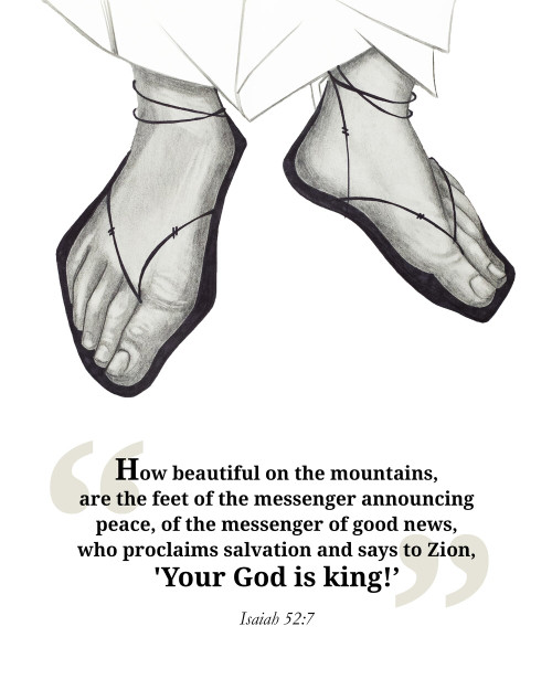 The Feet of the Messenger (With Quote) 8 x 10 Print