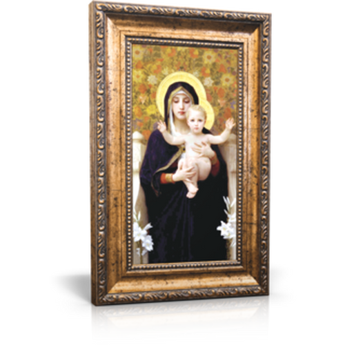 "Madonna of the Lilies - Framed Canvas 6"" x 11"" (Including gold frame: 9.5"" x 14.5"")"