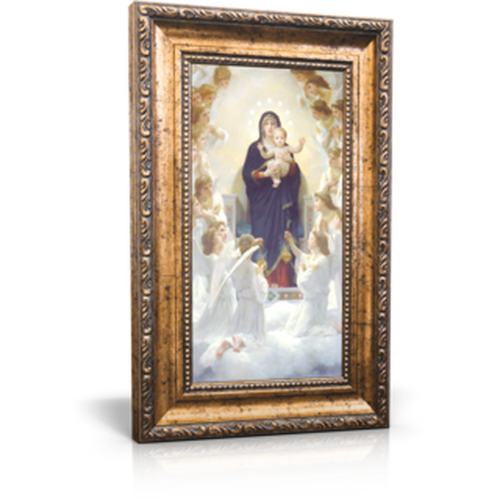 "Queen of Angels - Framed Canvas 6"" x 11"" (Including gold frame: 9.5"" x 14.5"")"