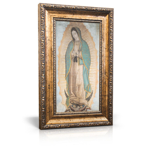 "Original Our Lady of Guadalupe - Framed Canvas 6"" X 11"" (Including gold frame: 9.5 x 14.5)"