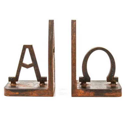 Alpha Omega Book Ends (Rusted Metal)