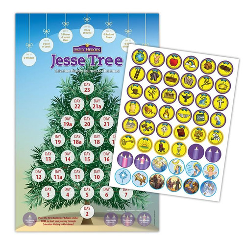 Jesse Tree Poster and Sticker Activity: Salvation History Journey to Christmas-(2-Pack)