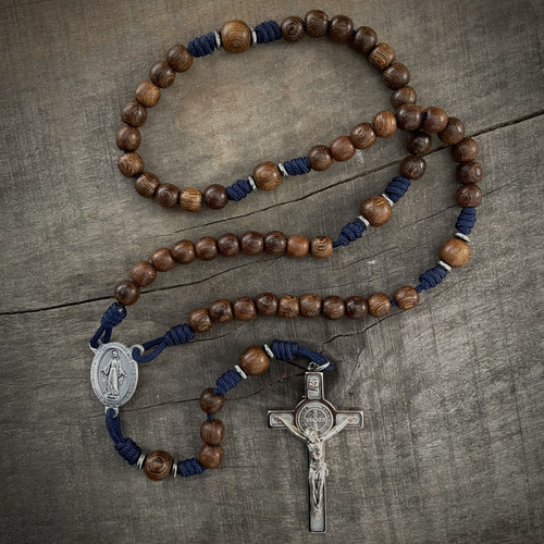 Miraculous Medal Wooden Rosary (St. Benedict Medal)
