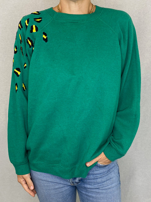 Leopard Vintage Sweatshirt - Teal   SOLD OUT