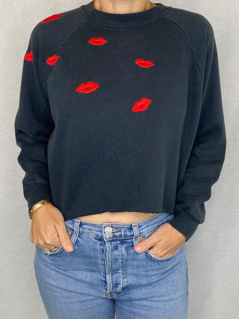 SOLD OUT Lips Vintage Sweatshirt - Black