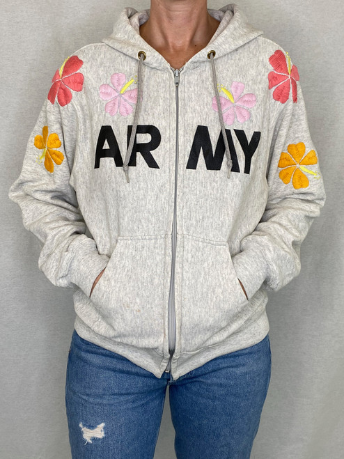 Hibiscus Zip-Up Vintage Sweatshirt - Heather Grey