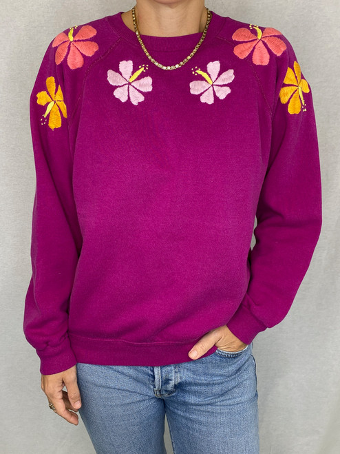 SOLD OUT Hibiscus Vintage Sweatshirt - Fuchsia