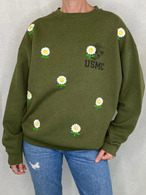 Daisies Vintage Sweatshirt - Army