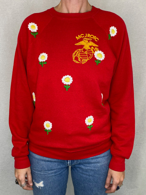 Daisies Vintage Sweatshirt - Red
