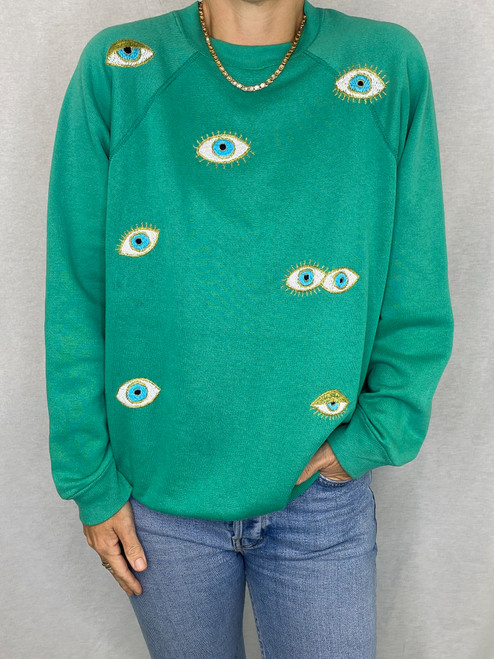 SOLD OUT Evil Eye Vintage Sweatshirt - Teal