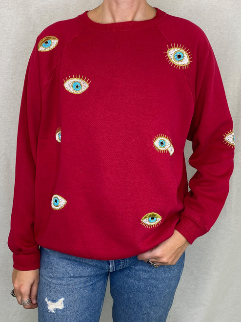 Evil Eye Vintage Sweatshirt - Red