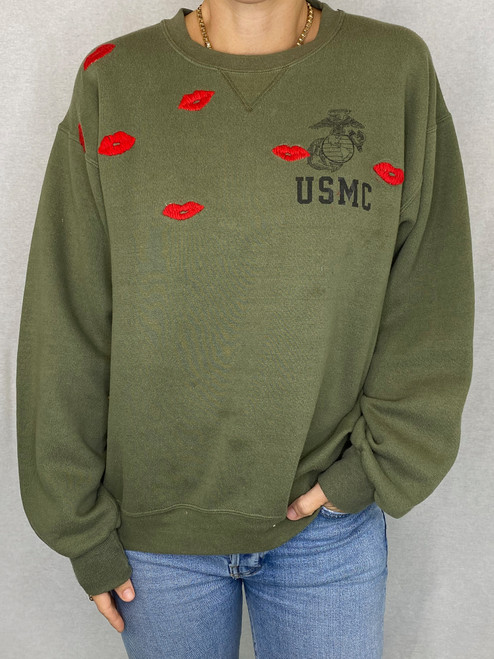 Lips Vintage Sweatshirt - Army