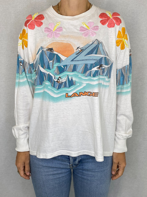 SOLD OUT Hibiscus L/S  Vintage T-shirt - White