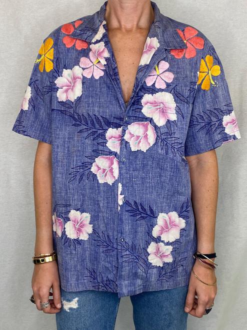 Hibiscus Vintage Aloha Shirt - Royal