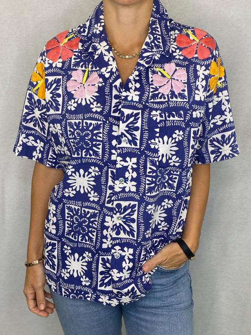 Hibiscus Vintage Aloha Shirt - Royal 2