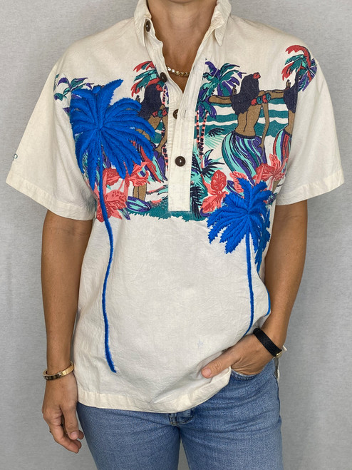 Palms Vintage Aloha Shirt -Cream