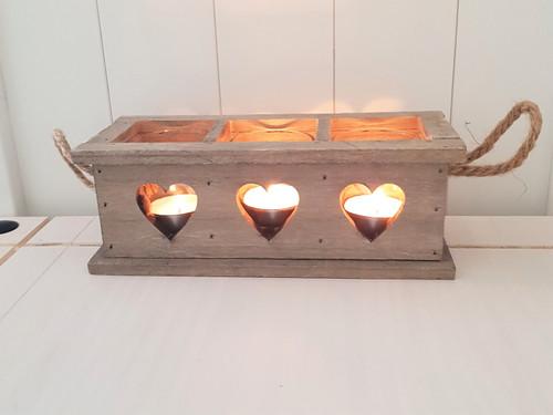 Wooden Heart Triple Tea-Light Holder