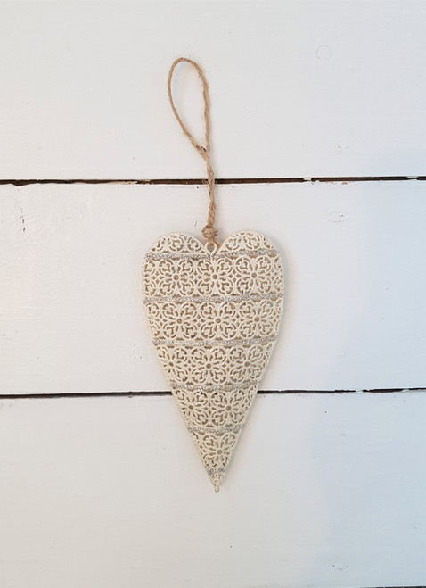 Cream and Silver Hanging Heart