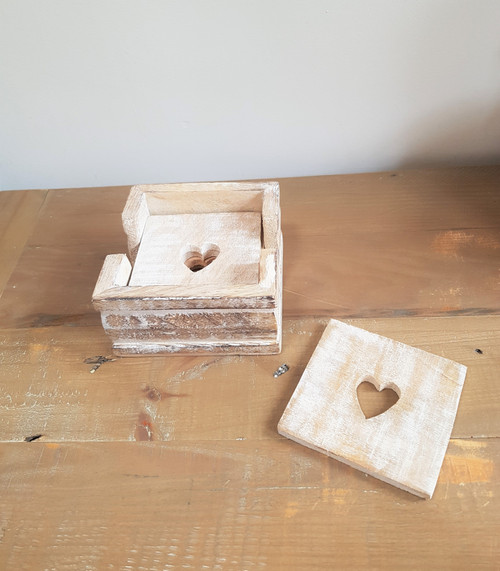 Wooden Heart Cut Out Coasters