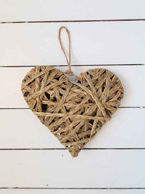 Large Straw Hanging Heart