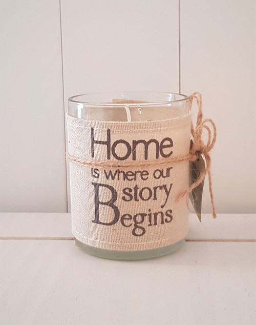 Linen Word Print Candle - Home Story Begins
