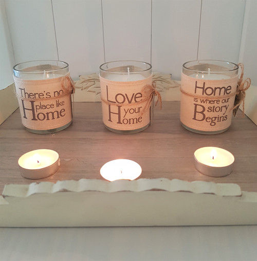 Linen Word Print Candle - No Place Like Home