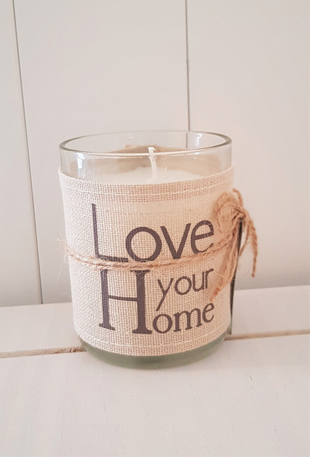 Linen Word Print Candle - Love Your Home