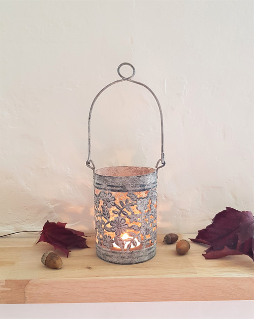 Rustic Floral Cut Candle Holder