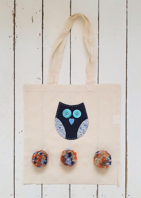 Owl & Pom Pom Tote Bag