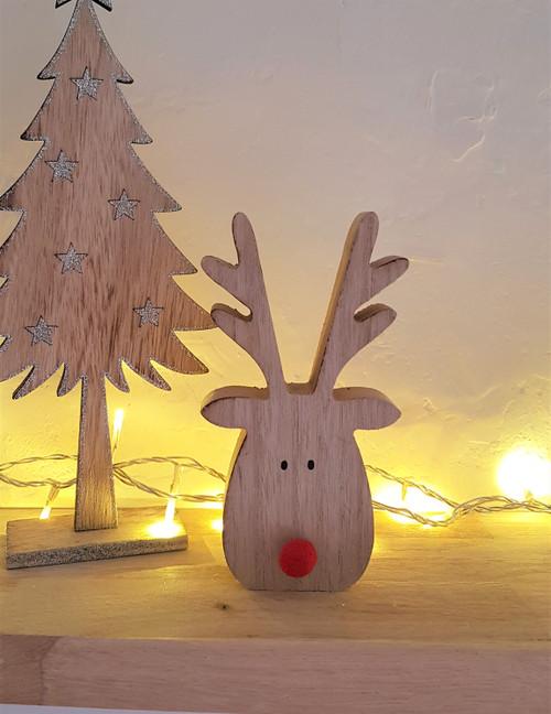 Wooden Reindeer With Pom Pom Nose