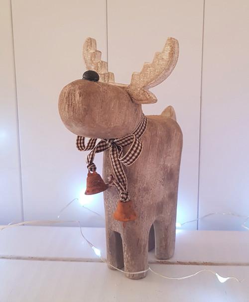 Wooden Reindeer with Bells