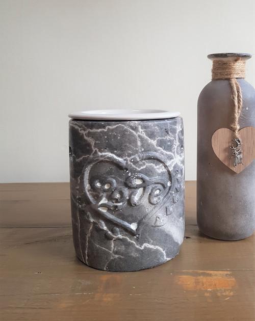 Love Oil Burner - Dark Grey Marble