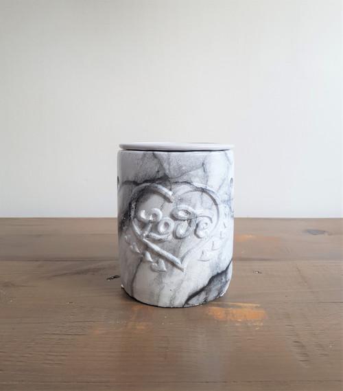 Love Oil Burner - Light Grey Marble